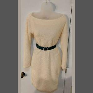 Fluffy 50s Pinup cream long sleeve sweater dress M